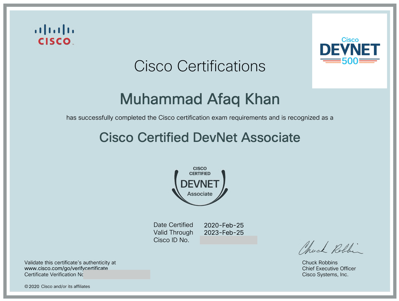 CiscoCertifiedDevNetAssociatecertificate-afaqkhan