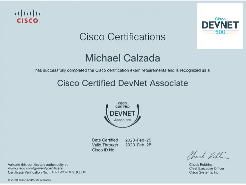 CiscoCertifiedDevNetAssociatecertificate-michaelcolzada